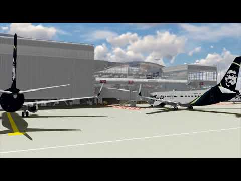 North Satellite at Sea-Tac Airport -  interior and exterior with information