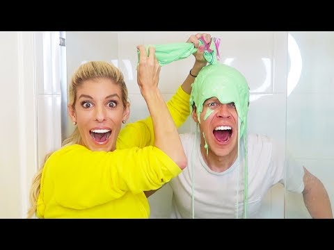 I Lost A Bet.  Dumping all of Rebecca's Mixed Slime on My Head!