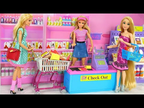 Barbie Supermarket Grocery store Toy - I Love 2 Shop unboxing Barbie supermercado Puppe Supermarkt