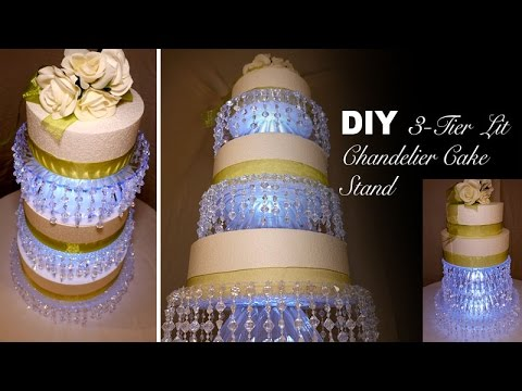 DIY | 3-Tier Lit Chandelier Wedding Cake Stand