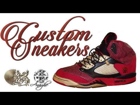 How Custom Sneakers & Clothing Are Made : The Blood of a King 5's