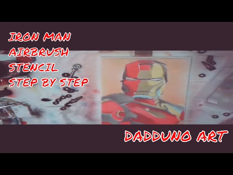 IRON MAN AIRBRUSH STENCIL STEP BY STEP MULTILAYER