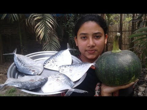 Village Food Recipe | Green Pumpkin and Fish Curry | Cooking and Eating By Street Village Food
