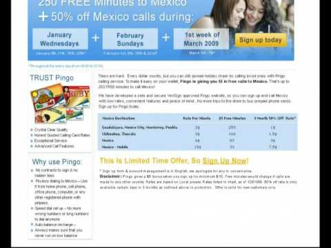250 Free minutes to call mexico