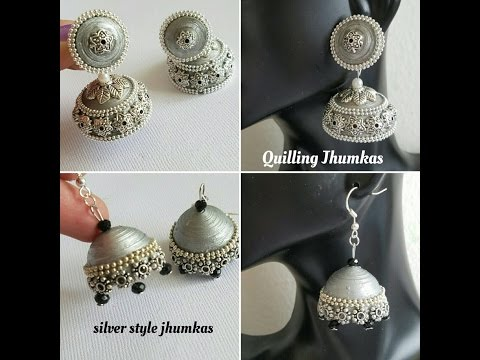 Making Quilling jhumkas German Silver Style|Oxidized silver jhumka |Light weight Jhumkas(Tutorial)