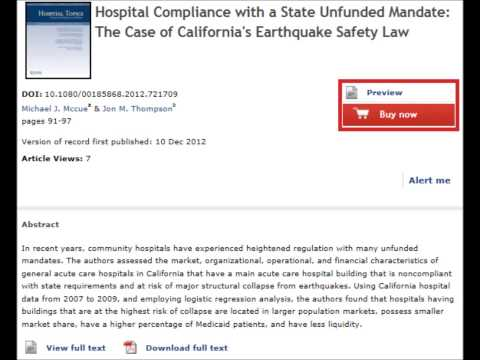 Hospital Compliance with California's Earthquake Safety Law