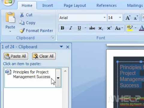 How to use the Office clipboard task pane