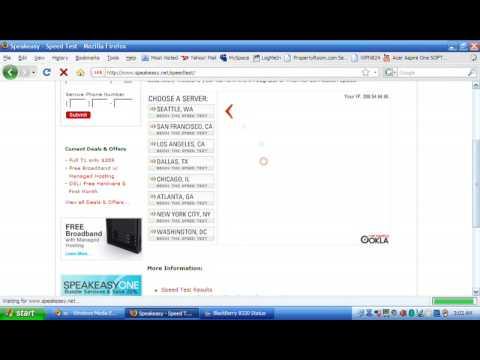 Internet Speed test on Acer Aspire One - WiFi & Blackberry 8320 Bluetooth modem!