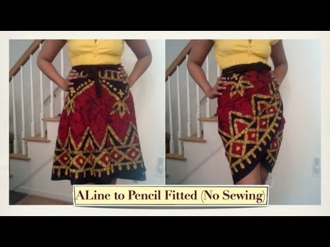 Turn an A Line Wrap Skirt into a Fitted Skirt Without Sewing :)