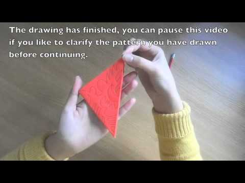 Chinese Paper Cutting - How to make a red square flower