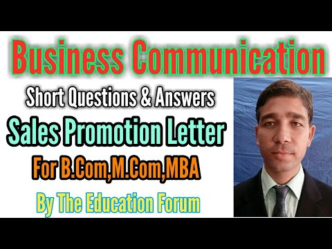 Sales Promotion Letter short questions & answers of Business Communication for B.Com, M.Com, MBA..