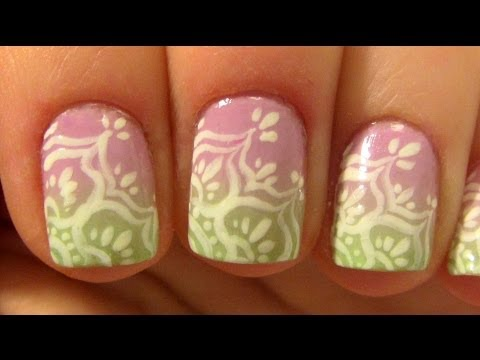 Lace Flower Design on Pink & Light Green Ombre For Short Nails Nail Art Tutorial