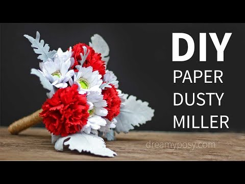 [FREE template] How to make paper Dusty Miller and wrap a paper bouquet