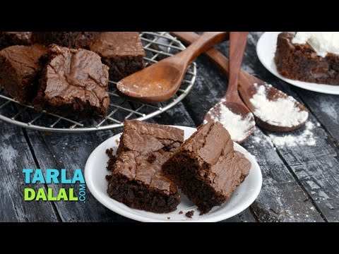 Chocolate Brownie in an Oven, Eggless Chocolate Brownie by Tarla Dalal