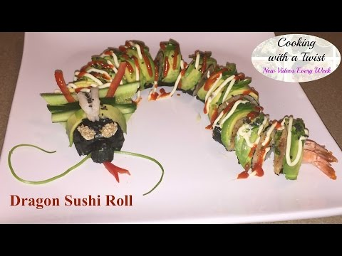 Spicy Salmon Dragon Sushi Roll - How to make Sushi Rolls - How to Roll Sushi - Dragon Roll Recipe