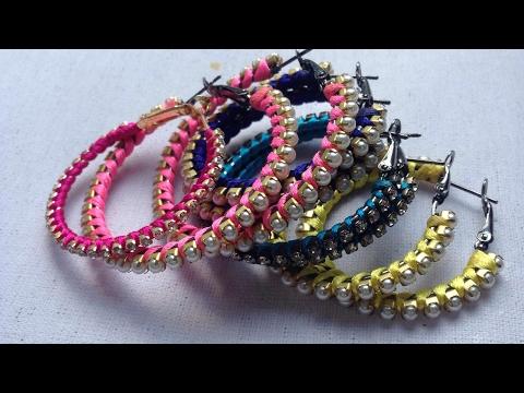 How to make silk thread hoop earrings at Home || DIY hoop earrings || jewellery art studio