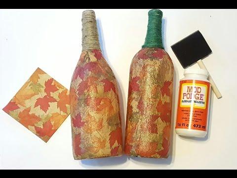 Fall Upcycle - Mod Podge Wine Bottles