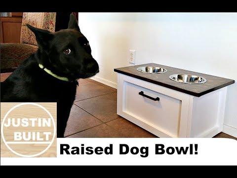 DIY Raised Dog Bowl with Storage!!