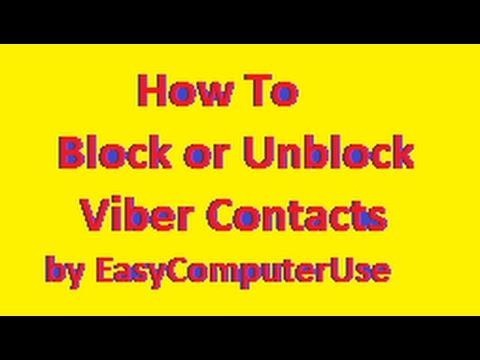 Block or Un-Block a Contact on Viber - Explained Step by Step| by ECU