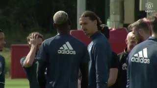 Paul Pogba in his first Manchester United training session | Zlatan Ibrahimovic, Rooney, Pogba