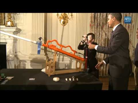 Obama Shoots Air Cannon In White House State Dining Room
