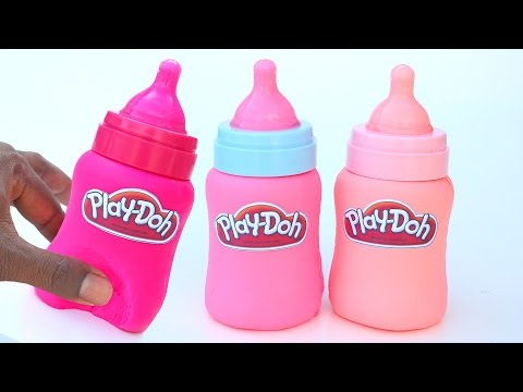 DIY How To Make Play Doh Baby Pink Bottles Mighty Toys Modelling Clay Learn Colors