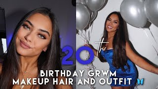 MY 20TH BDAY GRWM! Makeup hair and outfit 💙