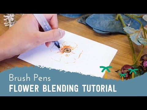 Brush Pen Drawing - Orange Flower Blending Tutorial | Stationery Island