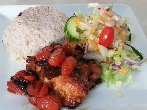 Pot Roast Chicken Served With Rice And Peas And Green Salad | Recipes By Chef Ricardo