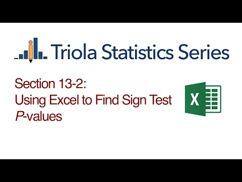 Excel Section 13-2: Using Excel to Find Sign Test P-values
