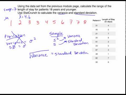 Calculating the Range, Variance, and Standard Deviation in StatCrunch