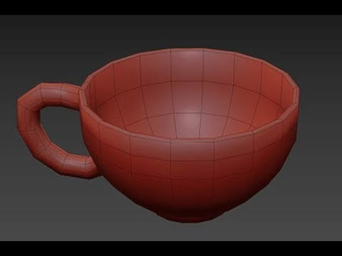 3Ds Studio max modeling: Simple coffee cup