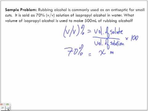 Concentration of Solutions: Volume/Volume % (v/v)