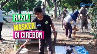 Puluhan Orang Terjaring Razia Masker di Cirebon, Petugas Beri Sanksi Mereka Menyapu Taman