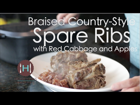 Braised Country-Style Spareribs  with Red Cabbage and Apples