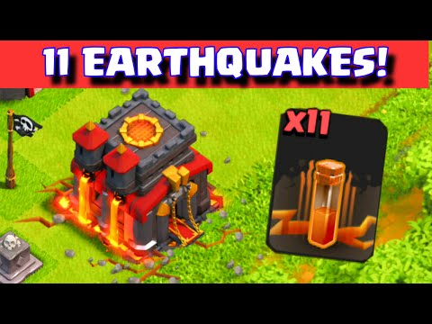 Clash of Clans 11 EARTHQUAKE SPELLS ATTACK ON TOWNHALL + WALLS CLAN WAR TROLLING