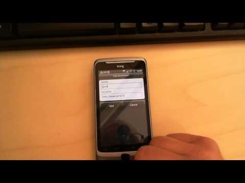 HTC Desire Z: Adding a bookmark