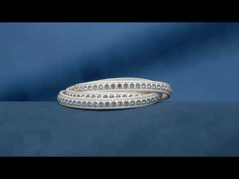 Stainless Steel Crystal Leather Wrap Magnetic Clasp Bracelet on QVC