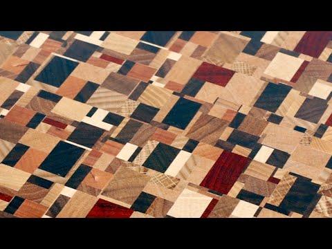 Chaotic pattern end grain cutting board #2 / Торцевая разделочная доска с хаотичным рисунком №2