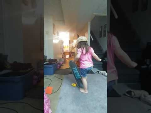 Our daughter decided to get on the skateboard all by herself and learn some tricks
