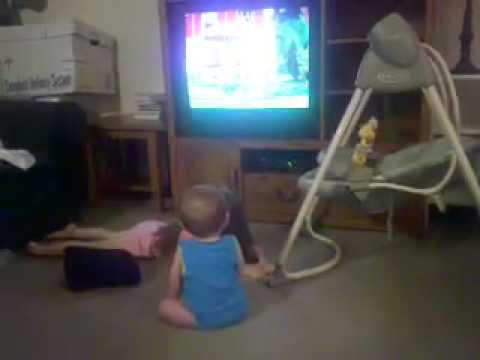 Jackson watching tv like a big boy