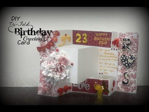 Tri-fold Birthday Greeting Card | Handmade Birthday Card | Praveen Kaur | DIY Art and Craft Ideas
