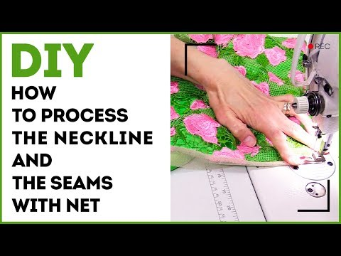How to process the neckline and the seams with net. Making lacy dress for a girl. Sewing tutorial.