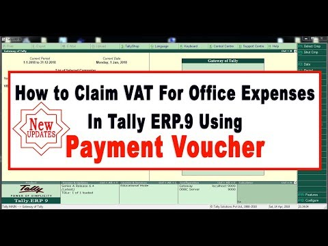 How to Claim VAT For Office Expenses In Tally ERP.9 Using Payment Voucher