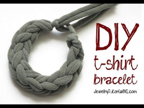 DIY Jersey Knit T-Shirt Bracelet Tutorial - Finger Knitting