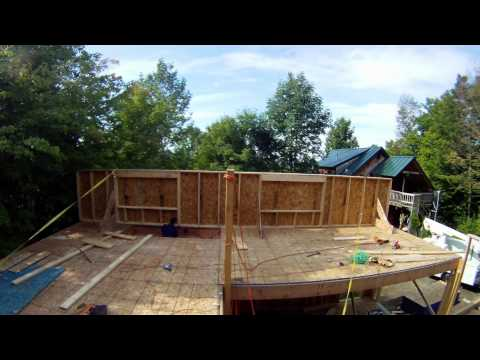 Raising a wall alone - 34 - My Garage Build HD Time Lapse