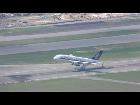 Beautiful Singapore Airlines A380 Take off sunset at Hong Kong with ATC