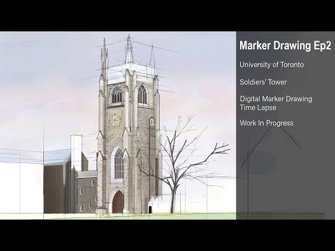 Digital Marker Drawing #002 Soldiers' Tower