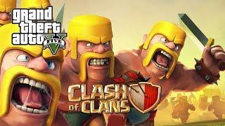 កំចាត់ឆ្អឹងខ្មោច GTA 5 Clash Of Clans Mod w/ Barbarian | GTA V Mods Gameplay