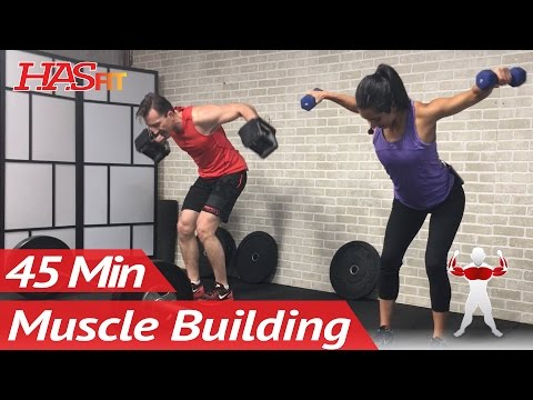 45 Min Chest and Back Workout with Dumbbells at Home - Upper Body Workout Routine for Men & Women